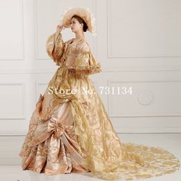 High-end Gold Floral Printed 19th Century Queen Marie Antoinette Dress Rococo Renaissance Medieval Women Party Dress Gown