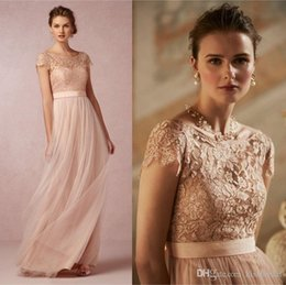 2016 Vintage Blush Lace Long Bridesmaid Dresses With Illusion Bateau Neck Capped Sleeves Low Back A-Line Tulle Floor-length Evening Dresses