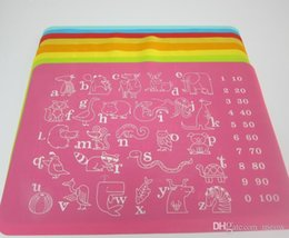 Silicone Dinner Mat Placemat Pad Soft Nonstick Kitchen Rolling Table Mat Cartoon Animal Alphabet Numbers 40*30cm for Kids Baby