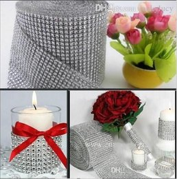 Wholesale 10 Yards Per Roll Rows Diamond Mesh Rhinestone Wrap Shiny Crystal Ribbon For Wedding Centerpieces Party Decorations Supplies color