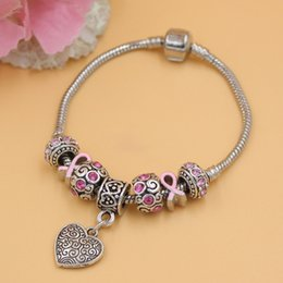 Free Shipping New Arrival Newest Breast Cancer Awareness Jewelry European Charm Heart Charm Bracelets Pink Ribbon Cancer Bracelet Jewelry
