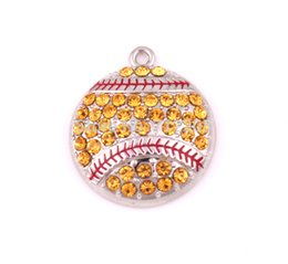 New Arrival Hot sale free ship 30pcs rhodium zinc alloy with sparkling yellow crystals Baseball or Softball sports Pendant