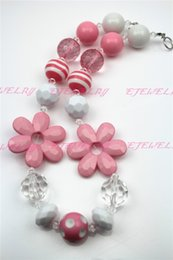 Pink Sunflower Girls Chunky Girls Big Bead Girls Necklace Chunky Bubblegum Necklace for kids CB239