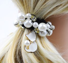 Wholesale Girl Cat Ponytail Holder with Imitation Pearl Crystal Women Hair Accessories New Fashion High Quality Handmade for