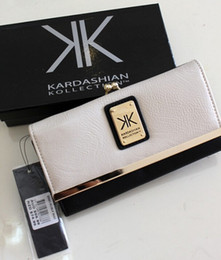 Wholesale 2016 New Kardashian kollection long design kk Purse women s wallets Clutch hitting buckle rivet wallet Bank cards handbag Storage bag