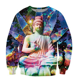 Wholesale Buddhas print Women Fashion Hoodies Newest Hip Hop Sweatshirt Casual D Unisex Crew Neck Long Sleeves Pullover Hoody