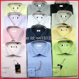 Wholesale-New Design Brand Men Long Sleeves Shirts Dress Shirts Men Wedding Dress Shirts Cotton Turn-down Collar Formal Business Clothiing