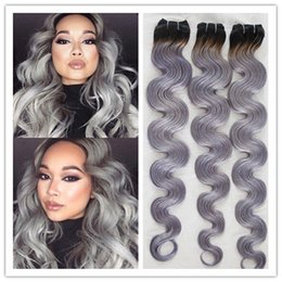 Wholesale cheap best quality A malaysian virgin hair weft weaves body wave b grey ombre hair silver grey hair extensions