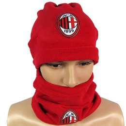 Wholesale Post football fans winter training game products AC Milan Milan warm scarf hat