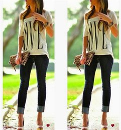 Wholesale New Arrivals Womens Ladies T Shirt Tops Blouse Short Sleeve Loose White Sexy Casual Love Printed Summer D3