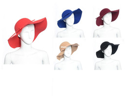 New Arrive Soft Women Vintage Retro Wide Brim Wool Felt Bowler Fedora Hat Floppy Cloche Big Brim Chapeu Hat