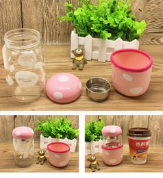 Wholesale Creative water bottle glass cup mushroom design ml portable with lid and tea infuser and cover for students or girls boys and lovers