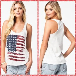 Wholesale Scoop Neck Flag Of The United Stated Printed Tanks Camis T Shirt Casual Outdoor Summer Women Girls Clothing Cheap Online Tops Tees