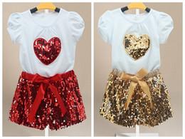 PrettyBaby girls summer outfits cotton short sleeve sequin heart shirt girls sequin short set kids girl short pant set free shipping