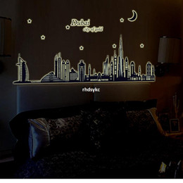 Wholesale bedroom decoration Wall Stickers Korea creative luminous paste waterproof wall stickers sticker ABQ9616 furniture silhouettes Duba