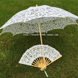 Wholesale Vintage Princess Wedding Lace Parasol and Fan Umbrella New Arrival Cheap White Ivory Color Lace Wedding Fans