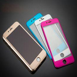 Wholesale For iphone Plus Metal Full Front Body Aluminium Premium Tempered Glass Film Screen Protector Guard H for iPhone6 Plus
