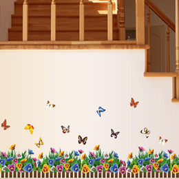 Wholesale Flower color butterfly railings DIY Removable Art Wall Stickers Decor Mural Decal AY882