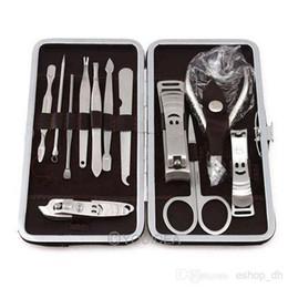 Wholesale Stone Pattern Case set Nail Clipper Kit Nail Care Set Pedicure Scissor Tweezer Knife Ear pick Utility Manicure Set Tools