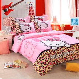 Wholesale 100 Cotton Hello Kitty Home textile Reactive Print Bedding Sets Cartoon Bed Sheet Duvet Cover Set Bedding set Colors