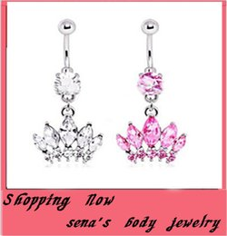 fashion Belly Button Rings Crystal Silver Crystal Zircon Crown Stainless Steel Sexy Navel Body Piercing Jewelry