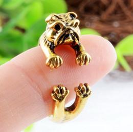 Hot Sale Animal Handmade French bulldog ring Wrap Ring cute golden silver black Fashion for women 2015