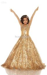 Wholesale 2015 Vestidos púrpuras del desfile de la muchacha del vestido de bola del halter del nuevo oro atractivo Tulle Vestidos de la muchacha de flor de los cequis brillantes Ropa formal de los cabritos por encargo