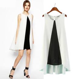 Wholesale Women s European and American big yards loose chiffon dress black and white stitching was thin sleeveless dress bottoming tide f
