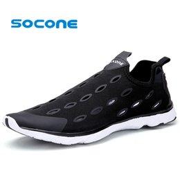 Wholesale-Socone Mens Water Shoes 2016 Summer Breathable Slip On Shoes Aqua Comfortable Beach Walking Shoes Men Fashion Womens Sneakers
