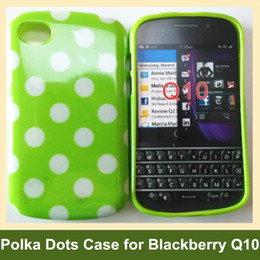 Wholesale Hot Polka Dots Soft TPU Gel Cover Phone Case for Blackberry Q10 Free Shipping