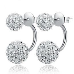 New 925 Silver White Shambala Diamond Ball Rhodium Plated Stud Earrings