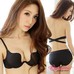 Wholesale Hot Women Girls Deep U Plunge Bra Halter Strap Low Cut Underwear Push Up Bra ABC