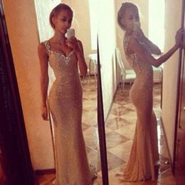 Wholesale 2015 Vestidos Longos Festa Mermaid Prom Dresses V neck Shoulder Strap Crystal Beading Sequins Long Evening Gowns
