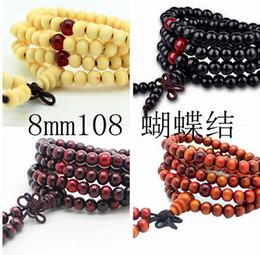 Mode Vintage Natural Wood stretch en perles Bracelet en bois faites à la main 108 hommes bracelets * 8mm Bouddha Bracelets Bangle Charm multicouche bowknot à partir de bracelets en bois faits à la main fabricateur