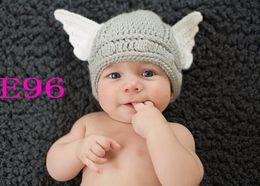 Wholesale new Handmade Crochet Baby hat Hand made Cute Baby Thor Viking Helmet for cap Newborn Photo prop