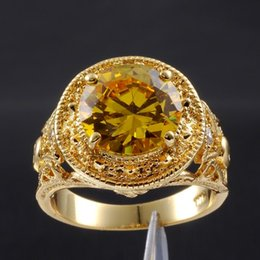 Size 9,10,11 Men's Round Yellow Topaz Gemstone 18K Yellow Gold Filled Vintage Ring for Men EXCLUSIVE