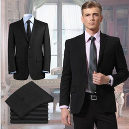 2015 Mens Business Suits Black Jacket and Pants Groom Tuxedos Two Buttons Formal Mens Suits Custom Made Groomsmen Prom Wedding Suits