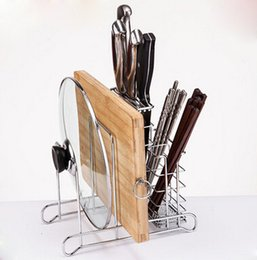 Wholesale Big and small pan cover holder chopping block rack chopsticks cage multifunctional cutting board round foot design shelf