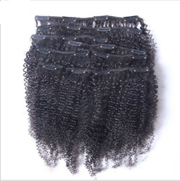 Mongolian Afro Kinky Curly Clip In Human Hair Extensions 7Pieces Set 120Gram Pack African American Clip In Human Hair Extensions
