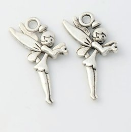 Wholesale New Hot sell Antique Silver Flying Tinker Bell Fairy Charms Pendants Jewelry DIY x13 mm L130