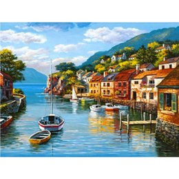 Wholesale NEW DIY D Diamond Painting Bule Bay City Sewing Rhinestones Crystal Art Craf Household And Gift Items Home Decor B067