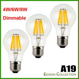 Wholesale Led Globe 6w Cool White - Dimmable No-Dimmable 4 6 8W E27 Warm White Cool White A60 A19 Vintage LED Filament Bulb 85-265V AC Dimmable Edison Globe Bulb 100LM W