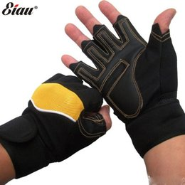 Wholesale-Winter New Anti-skid Wearable Gloves for Fitness Sport Half-finger Wrist Weightlifting Workout Men's Mittens Black Red Yellow