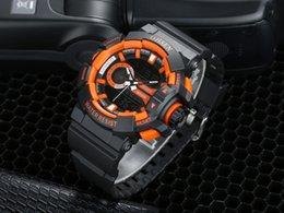 Dropshipping ohsen digital quartz fashion men wristwatch 50M diving silicone band orange dial LCD alarm display sports watches Orologio Uomo