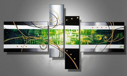 100% Hand-painted Modern Abstract Colorful Oil Painting on Canvas 4 Panels Drawing for Home Living Hotel Office Wall Decor