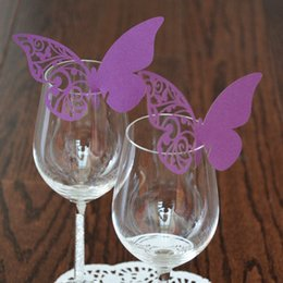 Wholesale Laser Cut Butterfly Wedding Decorations Wine Table Name Glass Card Wedding Party Decoration Table Mark Place Card Wedding Favors Supplies