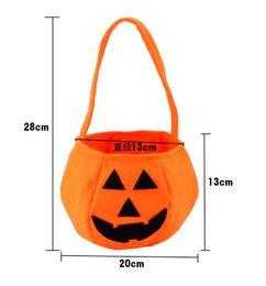 Wholesale Halloween Trick or Treat Pumpkin Candy Bag Basket Cute Non woven Pumpkin Bag Handheld pumpkin bag for children