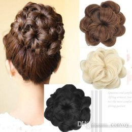 Wholesale New Womens Diam cm Curly Wave Buns Donut Bride Chignons Hairpiece Hair Extensions Cover Wrap Maker Hair Accessories FJ06A
