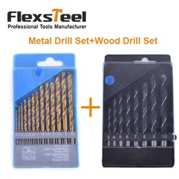 Forets en métal à vendre-Flexsteel 13PCS HSS Titanium Twist Foret Bits Set à Metal + 8PCS Acier au carbone Manuel Noir Twist Bois foret Bit Set