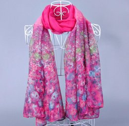 Wholesale Hot sell Malaysia Muslim women Baotou scarves Gradient color flowers voile scarf x cm mn10